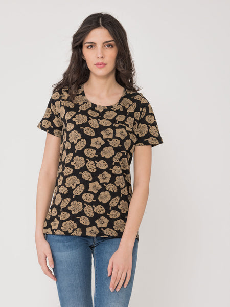 T-shirt nero / beige con stampa tropical