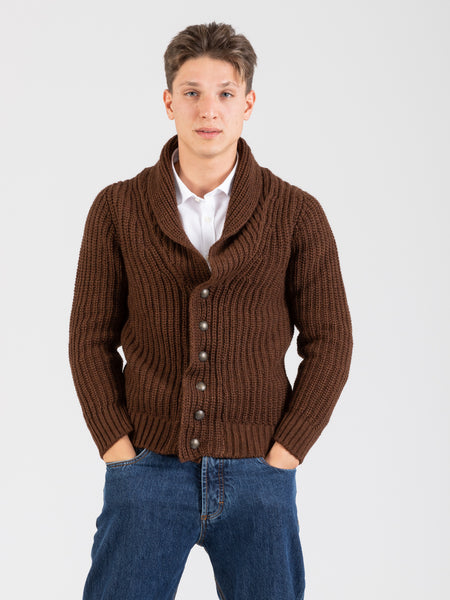 Cardigan costa inglese marrone