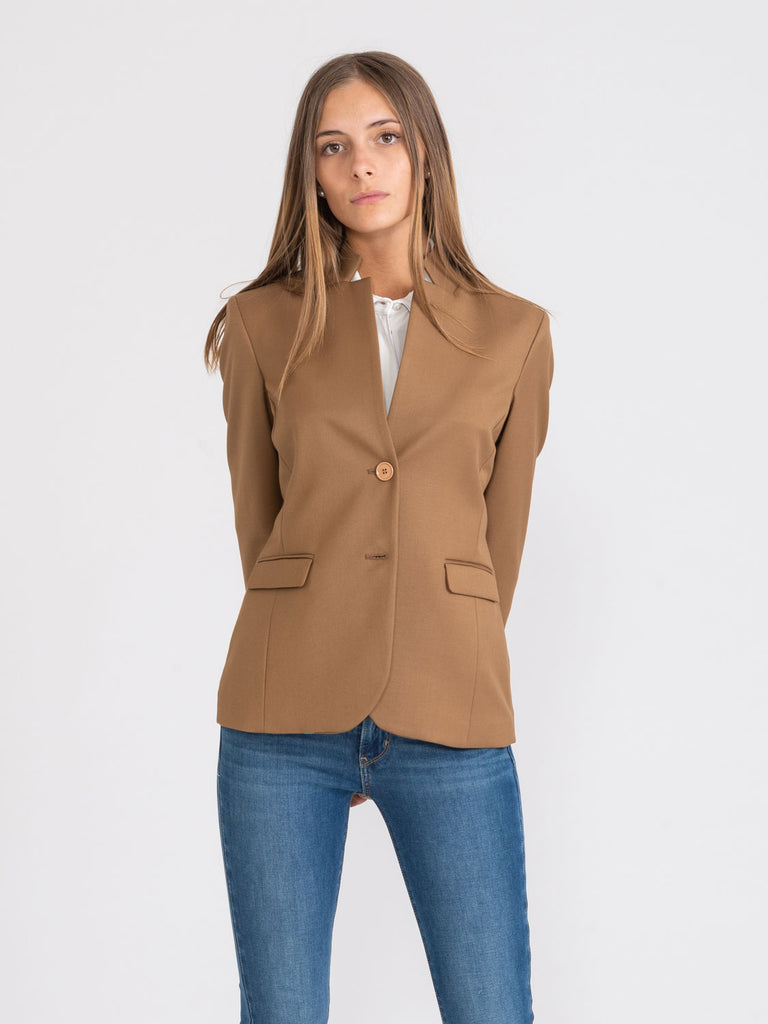 MERCI - Blazer in misto viscosa cammello