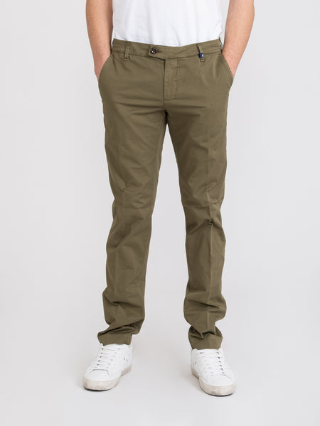 Chinos cotone washed verde militare