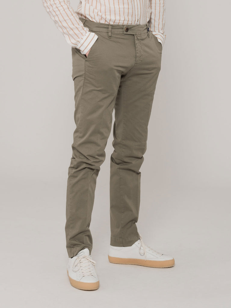MYTHS - Pantaloni verdi in cotone stretch