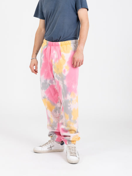 Joggers sustainable tie dye rosa / grigio / giallo