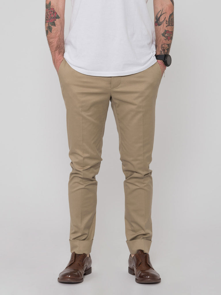 OBVIOUS BASIC - Chinos basic beige in cotone con risvolto