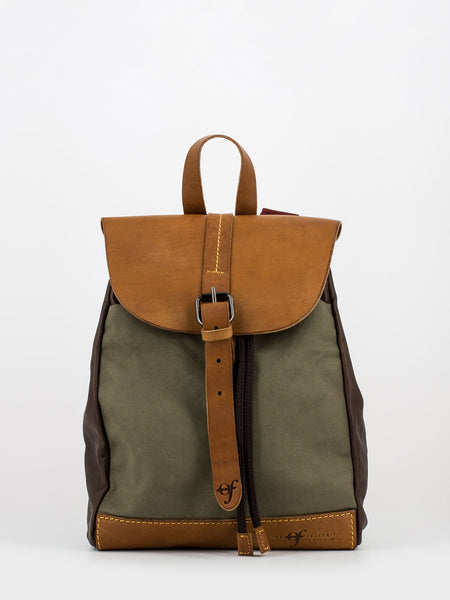 Zaino urban small verde / cuoio / marrone