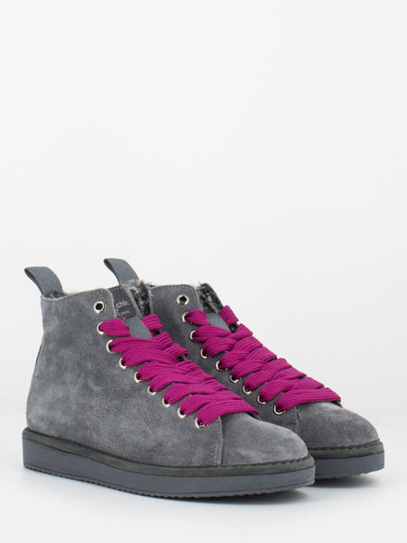 P01 Mid Cut in suede lining eco fur ash / fuxia