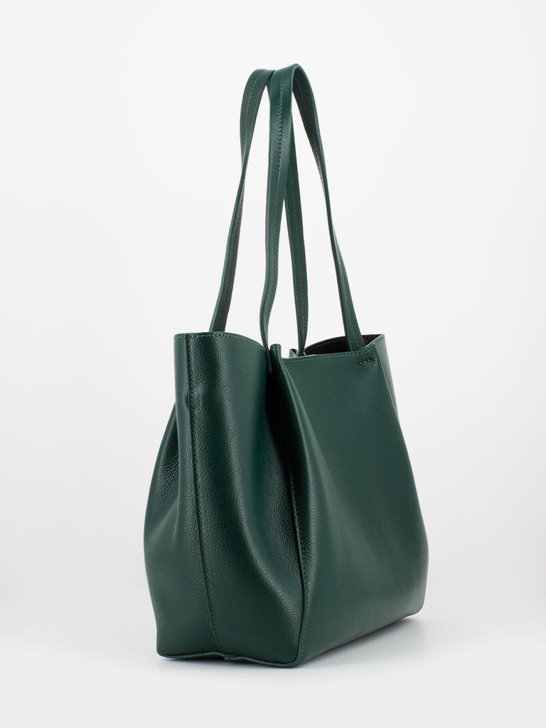 new product e4c1a 4fc91 PATRIZIA PEPE - Shopper in pelle martellata S.E.L.F. green ...