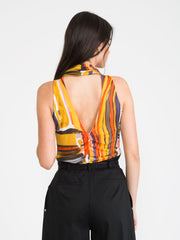 PATRIZIA PEPE - Top tulle colorful print