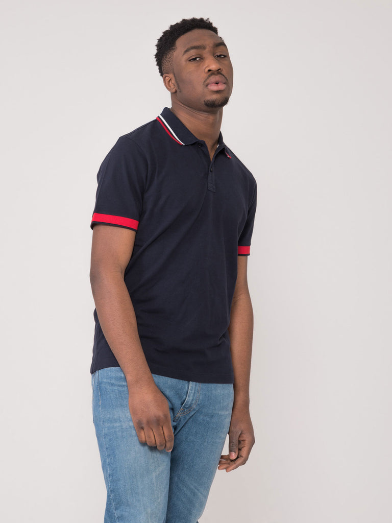 PENN RICH - Polo basic pique blu