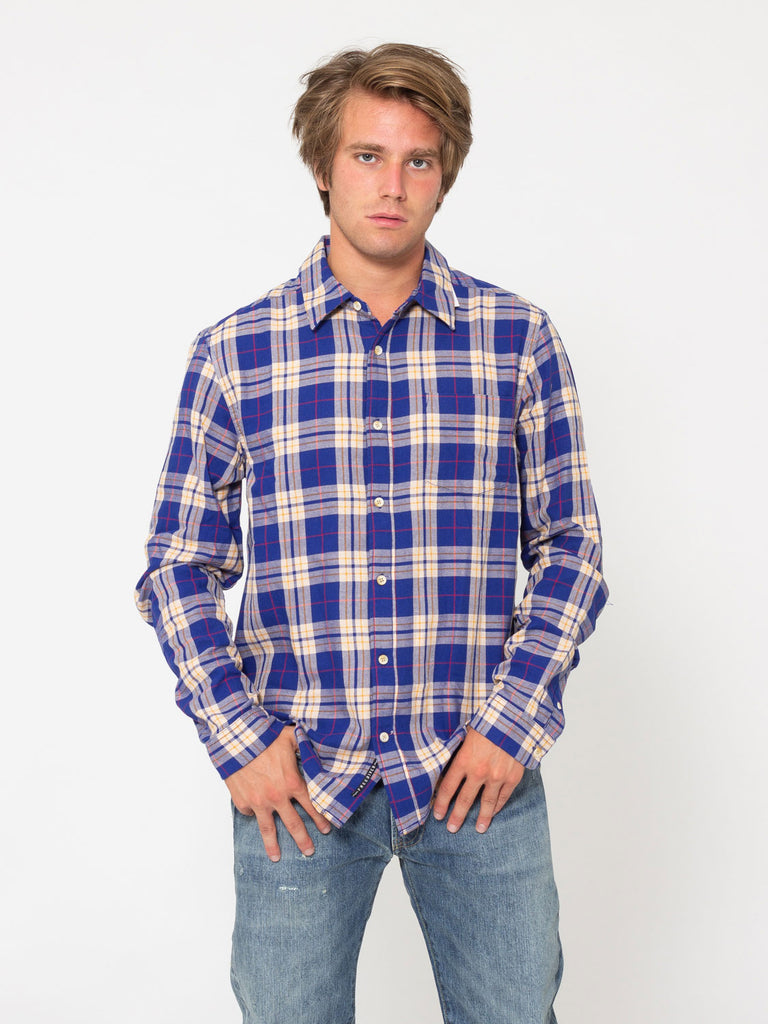 SCOTCH & SODA - Camicia in flanella spazzolata blu / ocra