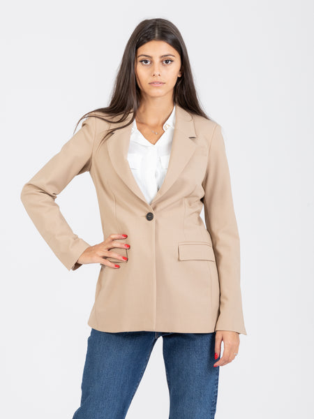 Blazer single-button sfiancato beige