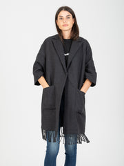 SEMICOUTURE - Cappotto antracite con frange