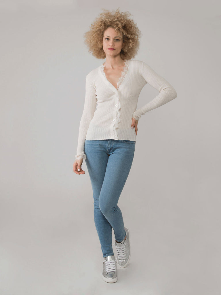 SEMICOUTURE - Cardigan avorio a costine con pizzo