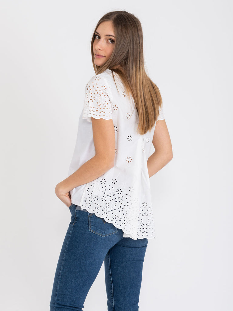 SEMICOUTURE - T-shirt bianca con inserti San Gallo