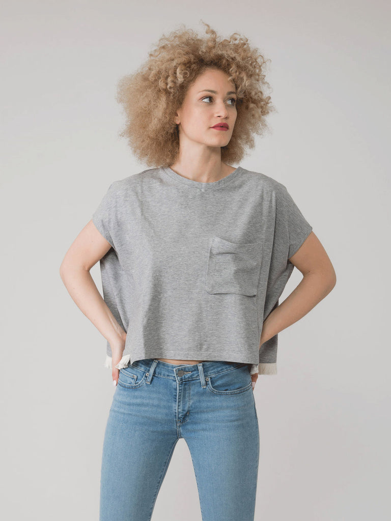 SEMICOUTURE - T-shirt over grigia con frangette