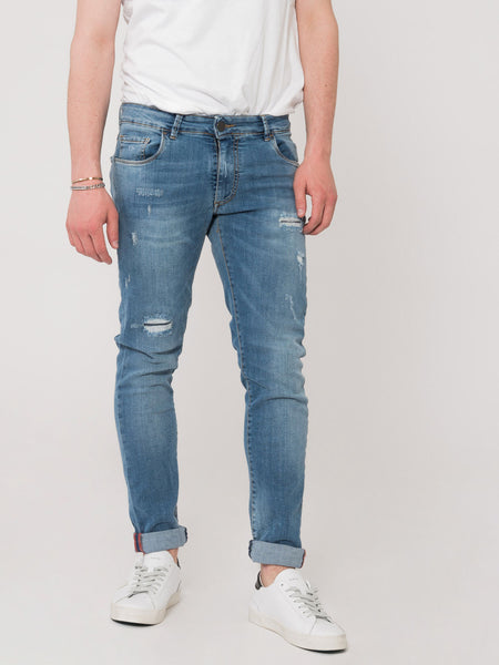 Jeans Tom Log In medio chiaro con strappi