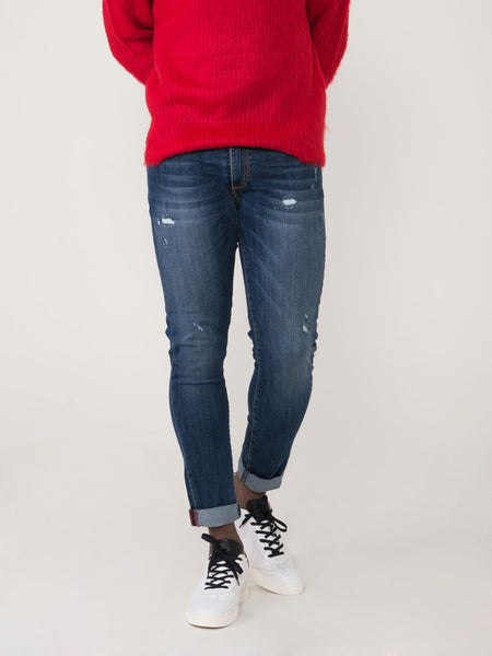 Jeans tom medio scuro con strappi