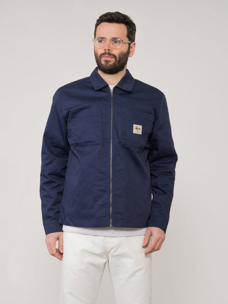 Giacca Poly cotton zip up blu