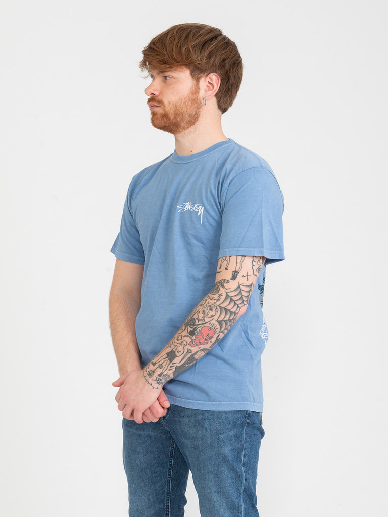 STUSSY - T-shirt Bloom Pig Dyed azzurra