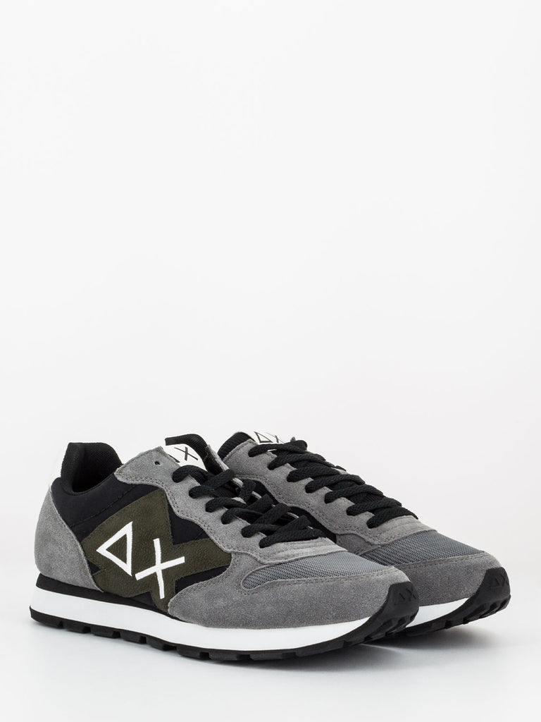 SUN 68 - Sneakers Tom patch logo grigio / nero / militare