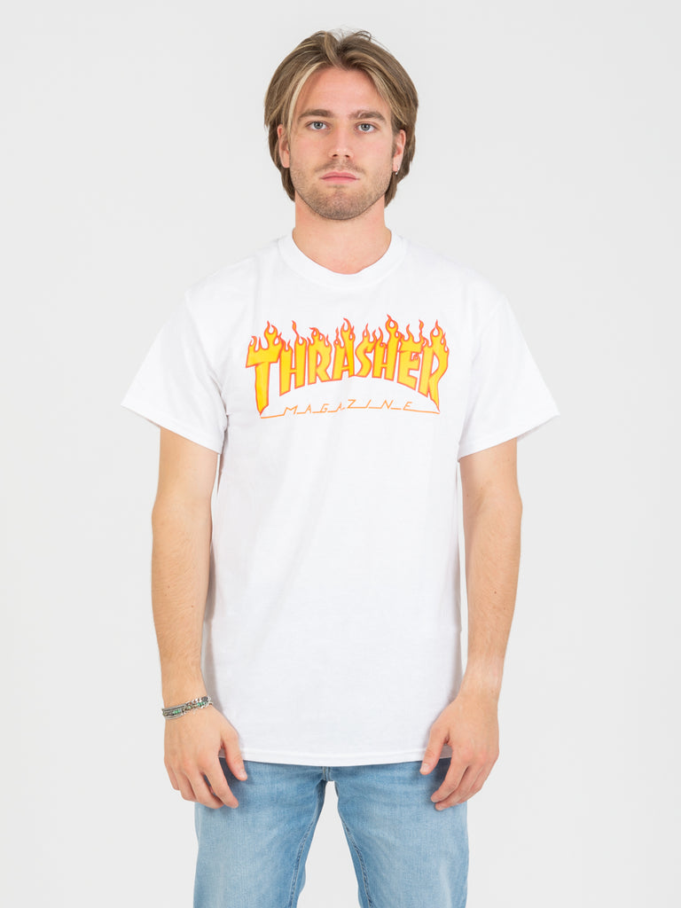 THRASHER - T-shirt Flame bianca