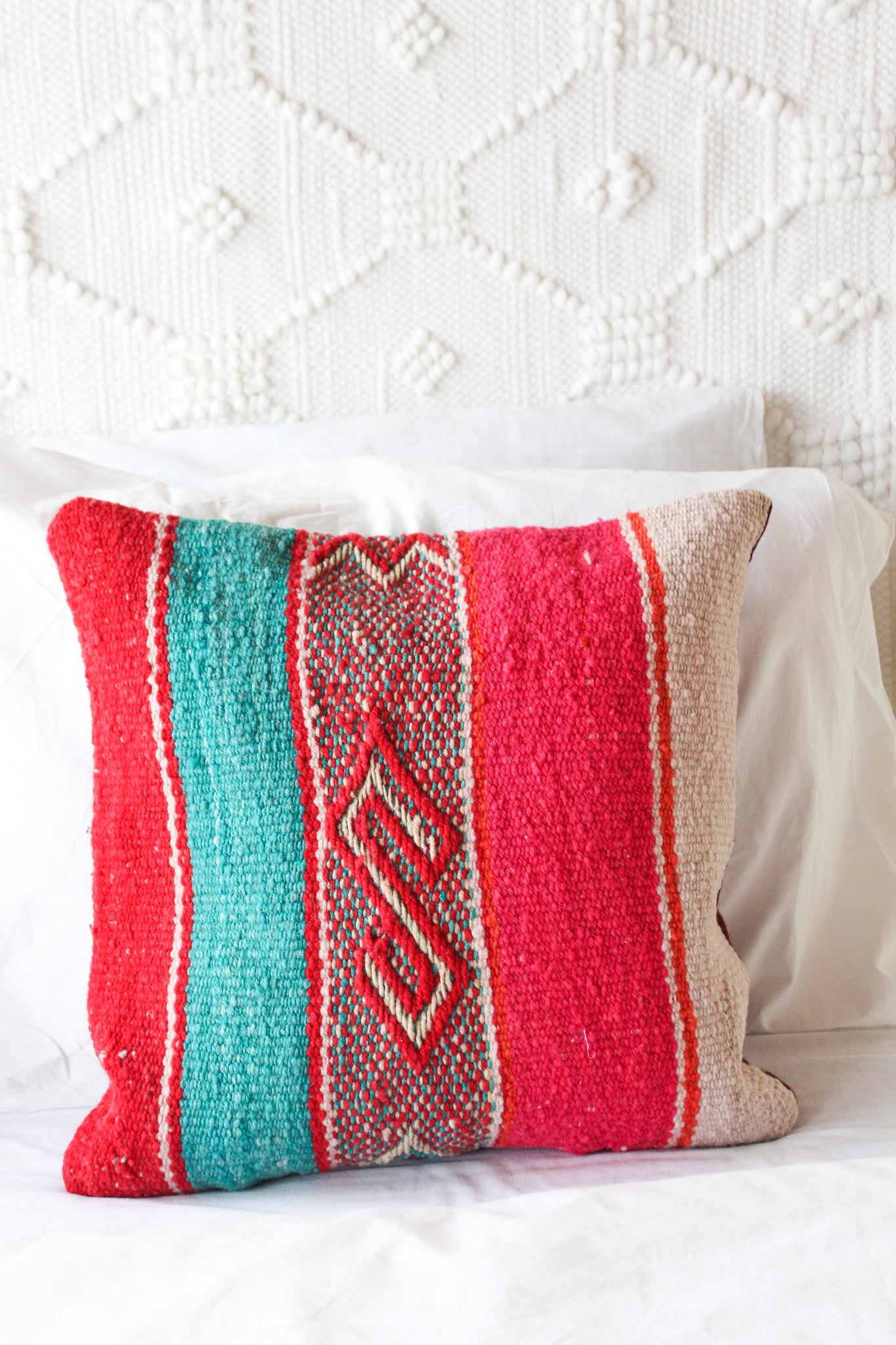 Color in Nazca Lines Wool Textile Pillow