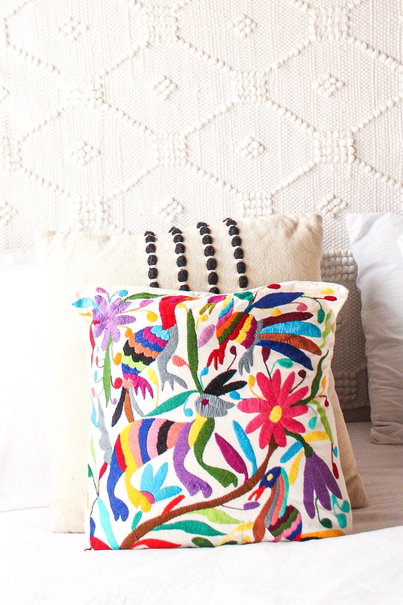 Circle of Life Embroidered Otomi Pillow