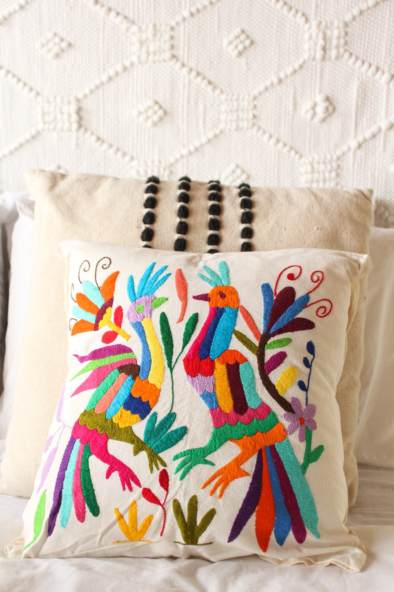 Love Birds Embroidered Otomi Pillow