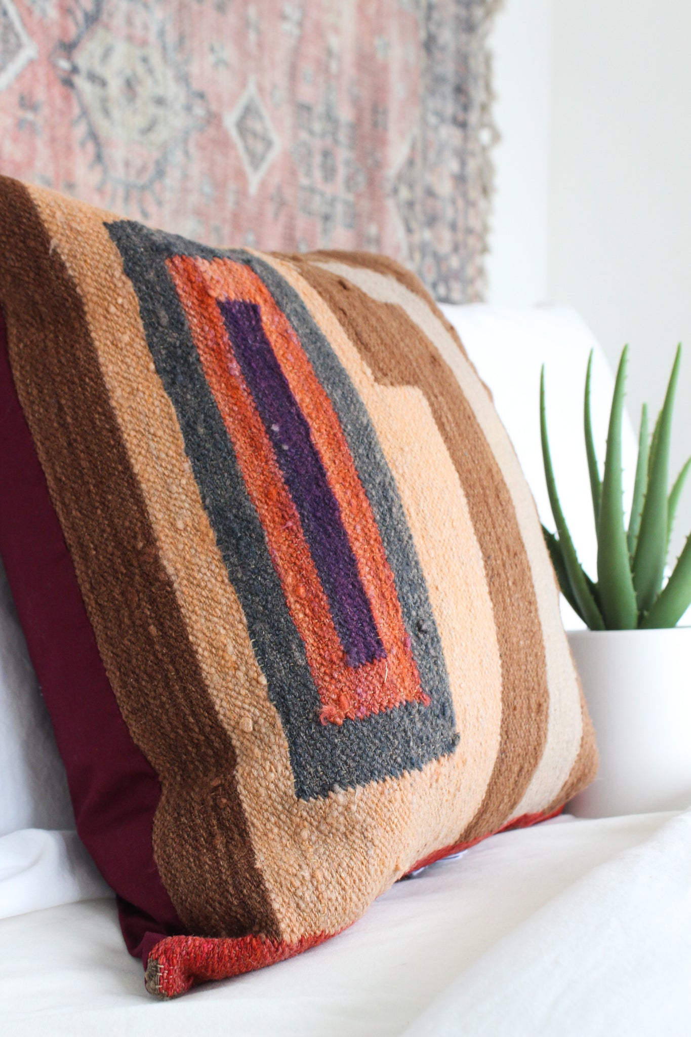 Mocha Swirl Wool Textile Pillow