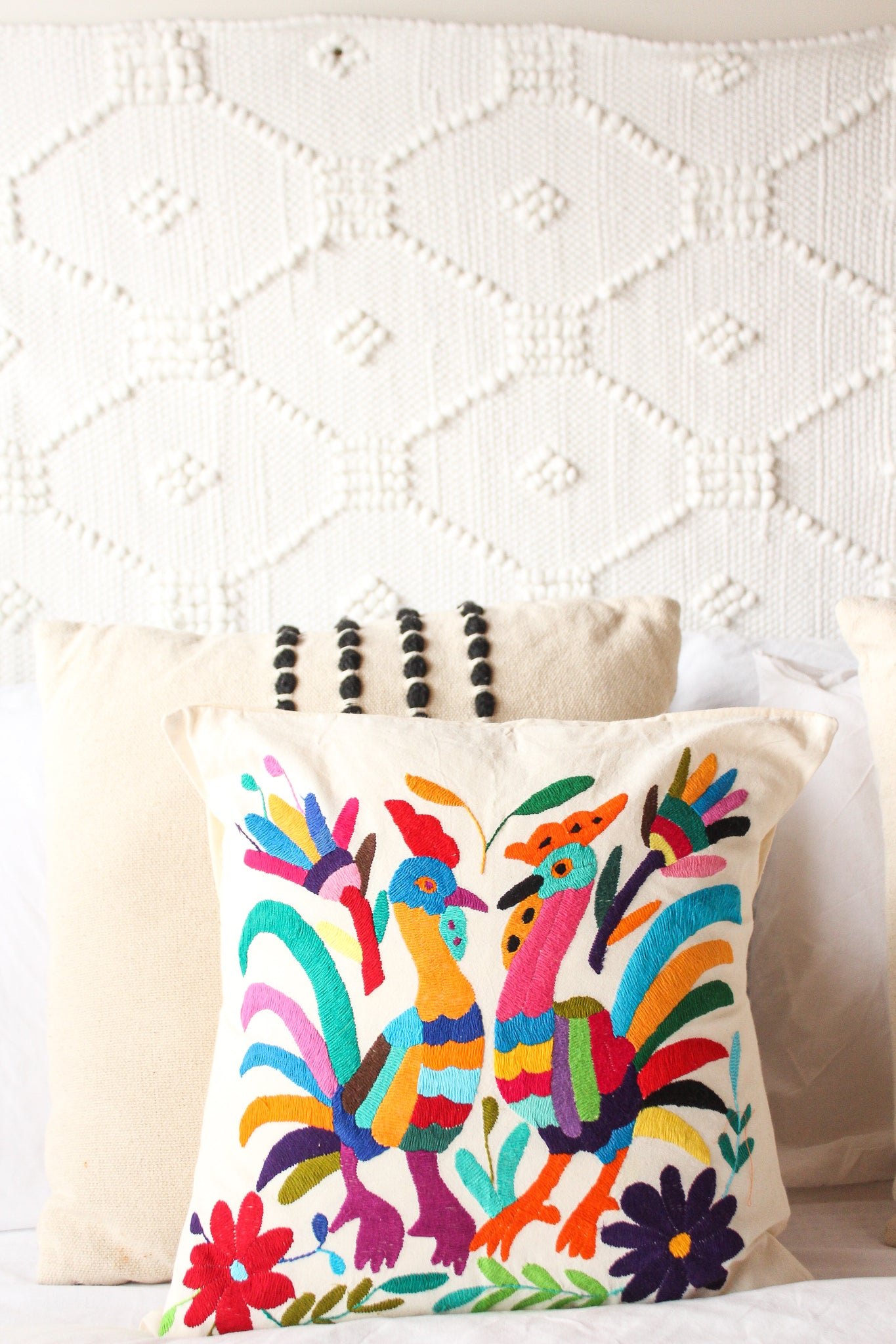 Birds of a Feather Embroidered Otomi Pillow
