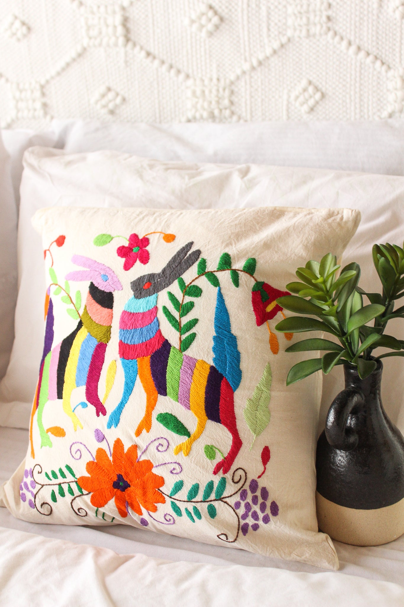 Hoppy Days Embroidered Otomi Pillow Wild Hearts Halos