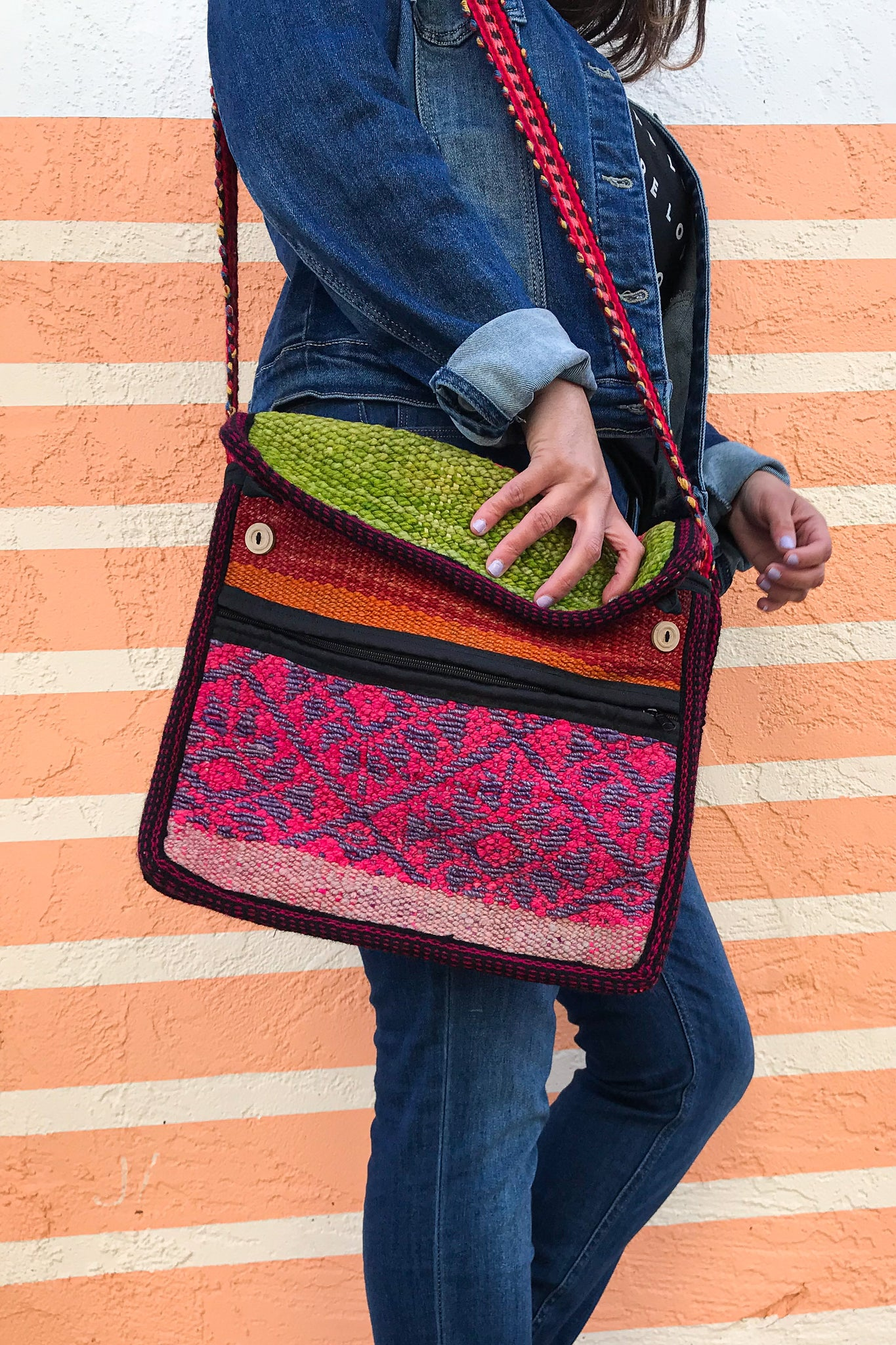 Raspberry Limeade Wool Cross-Body Bag - Wild Hearts & Halos
