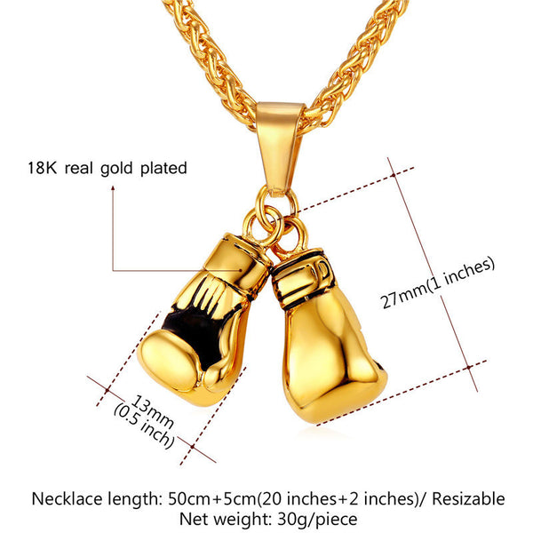 WKO 10009 Boxing Jewelry Stainless Steel/18K Real Gold Plated Chain