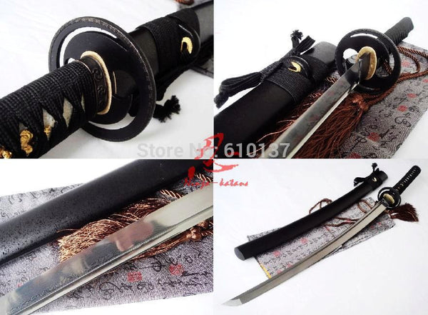 WKO 10025 hand forged folded steel japanese samurai katana sword cyclone tsuba sharpened