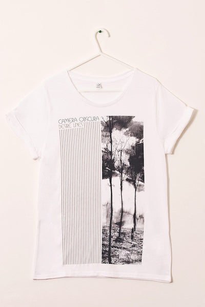 Ladies white 'Desire Lines' t-shirt