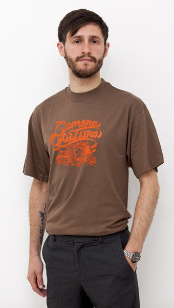 Mens brown 'Camera' t-shirt