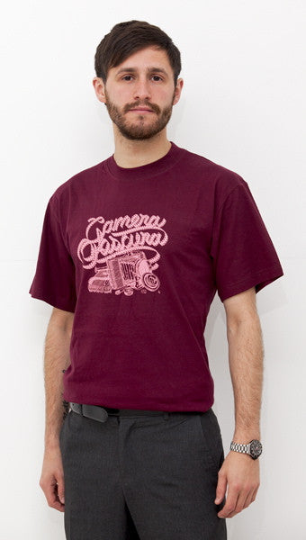 Mens burgundy 'Camera' t-shirt