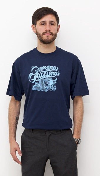 Mens navy 'Camera' t-shirt