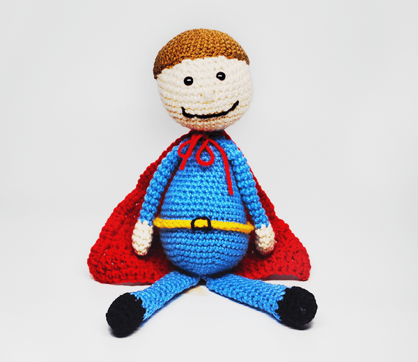 KidEssenceShop: dolls - Crochet Superhero Doll in Blue