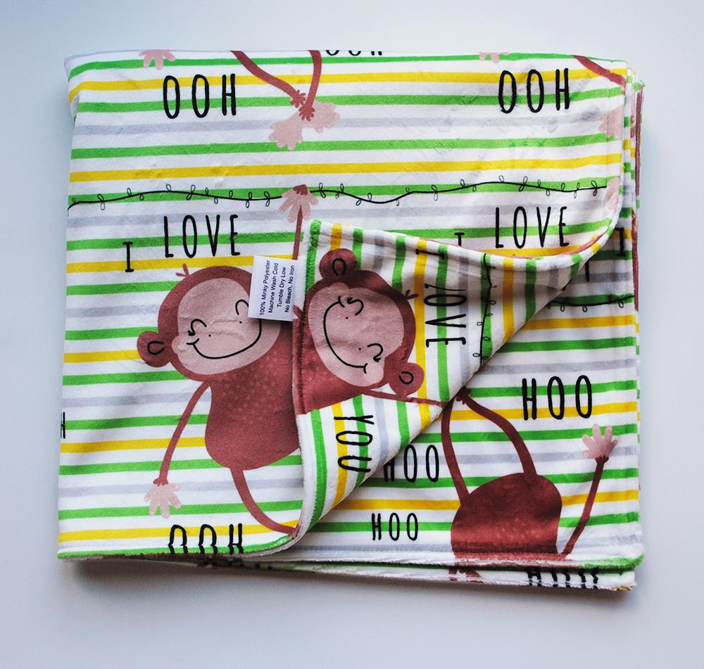 KidEssenceShop:  - Monkey Minky Blanket