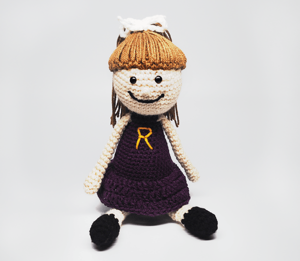 KidEssenceShop: dolls - Crochet Doll in Purple Dress