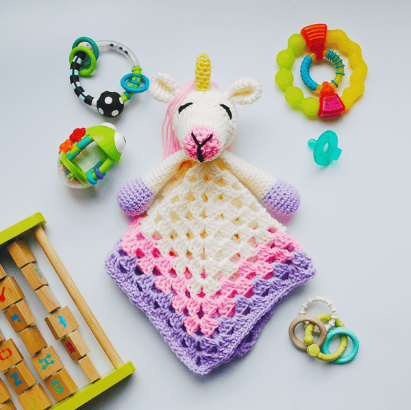 KidEssenceShop: Baby Toys - Unicorn Lovey Baby Blanket