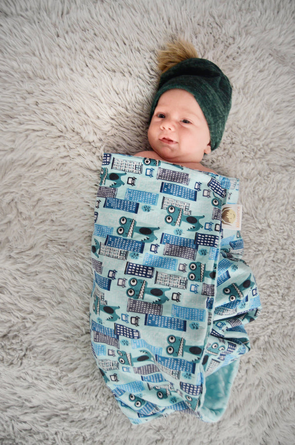 KidEssenceShop: Baby Blanket - Dino City Minky Blanket
