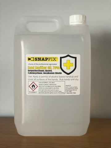Snapfix Large 5 Litre Hand Sanitising Gel 70% Alcohol **IN STOCK**