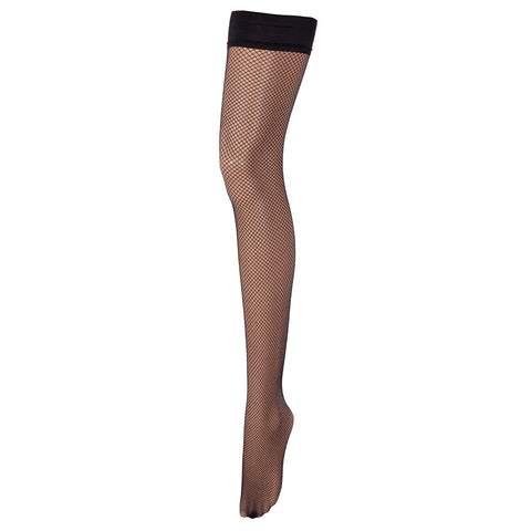 Hold Ups Fishnet Leg/Plain Top Black