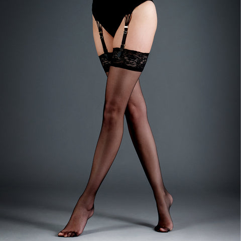 Stockings Plain Leg/Lace Top Black