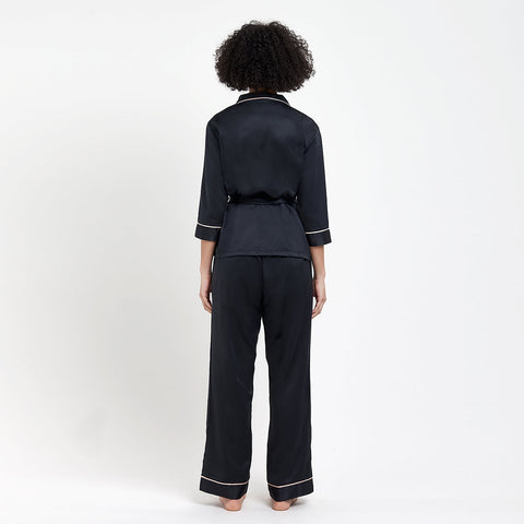 Wren Kimono and Trouser Set - Black