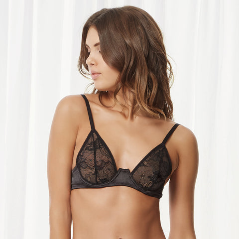 Phoenix Bra With Detachable Shoulder Cape Black