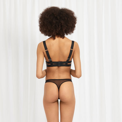 Liya Harness Thong Rose Dust/Black