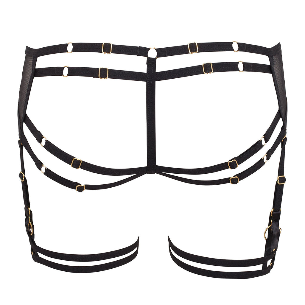 Sera Open-Back Suspender Brief Black