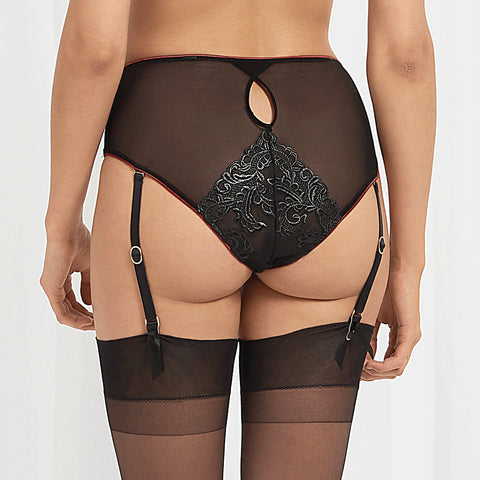 Mara High-Waist suspender Panty Black/Cordovan